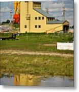 Grain Elevator In Balzac Alberta Metal Print by Louise Heusinkveld