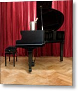Grand Piano With A Champagne Cooler Metal Print by Corepics