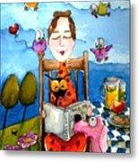 Grandma's Story Time Metal Print by Lucia Stewart