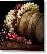 Grapes And Wine Barrel Metal Print by Tom Mc Nemar