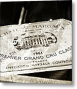 Great Wines Of Bordeaux - Chateau Margaux 1961 Metal Print by Frank Tschakert