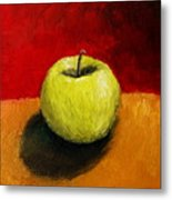 Green Apple With Red And Gold Metal Print by Michelle Calkins