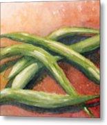 Green Beans Metal Print by Sandra Neumann Wilderman