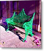 Green Bench By Michael Fitzpatrick Metal Print by Mexicolors Art Photography