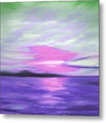 Green Skies And Purple Seas Sunset Metal Print by Gina De Gorna