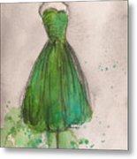 Green Strapless Dress Metal Print by Lauren Maurer