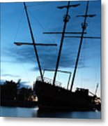 Grounded Tall Ship Silhouette Metal Print by Oleksiy Maksymenko