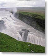 Gullfoss A Powerful Waterfall In The Canyon Of The Hvita River Metal Print by Sami Sarkis