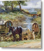 Gypsy Encampment Metal Print by John Atkinson