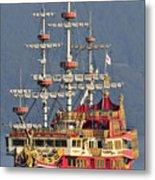 Hakone Sightseeing Cruise Ship Sailing On Lake Ashi Hakone Japan Metal Print by Andy Smy