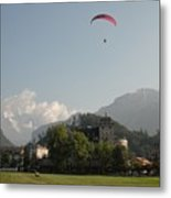 Hang Gliding In Interlaken Switzerland  Metal Print by Marilyn Dunlap
