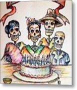 Happy Birthday Woman Skull Metal Print by Heather Calderon