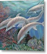 Happy Family - Dolphins Are Awesome Metal Print by Svitozar Nenyuk