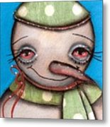 Happy Snow Man Metal Print by  Abril Andrade Griffith