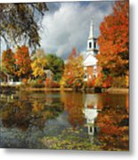 Harrisville New Hampshire - New England Fall Landscape White Steeple Metal Print by Jon Holiday