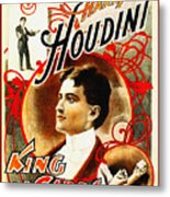 Harry Houdini - King Of Cards Metal Print by Digital Reproductions