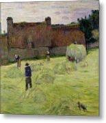 Haymaking In Brittany Metal Print by Paul Gauguin