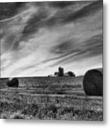Hayrolls And Field Metal Print by Steven Ainsworth