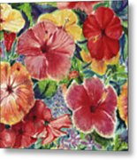 Hibiscus Impressions Metal Print by Patti Bruce - Printscapes