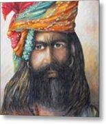 Hindu Holy Man Metal Print by Debra  Bannister