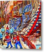 Hockey Game Near The Red Staircase Metal Print by Carole Spandau