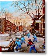 Hockey Gameon Jeanne Mance Street Montreal Metal Print by Carole Spandau