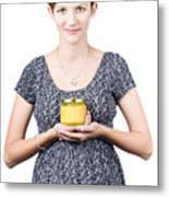 Holistic Naturopath Holding Jar Of Homemade Spread Metal Print by Jorgo Photography - Wall Art Gallery