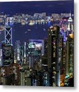 Hong Kong At Night Metal Print by Leung Cho Pan