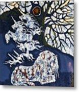 Horse Dreaming Below Trees Metal Print by Carol  Law Conklin