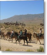 Horse Drive From June Lake To Bishop California Metal Print by Christine Till