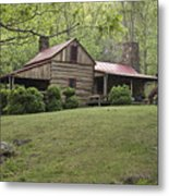 Horse Grazing In The Yard Of A Mountain Metal Print by Greg Dale