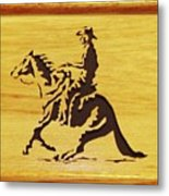 Horse With Rider Metal Print by Russell Ellingsworth