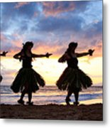 Hula At Sunset Metal Print by David Olsen