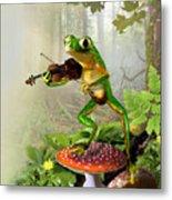 Humorous Tree Frog Playing A Fiddle Metal Print by Regina Femrite