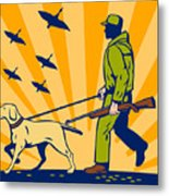 Hunting Gun Dog Metal Print by Aloysius Patrimonio