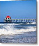 Huntington Beach Pier Photo Metal Print by Paul Velgos