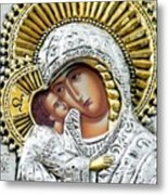 Icon Of The Bl Virgin Mary W Christ Child Metal Print by Jake Hartz