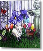 In The Chihuahua Garden Of Good And Evil Metal Print by Genevieve Esson