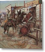 In Without Knocking Metal Print by Charles M Russell