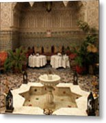 Interior Of A Traditional Riad In Fez Metal Print by Ralph A  Ledergerber-Photography