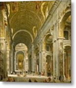 Interior Of St. Peter's - Rome Metal Print by Giovanni Paolo Panini
