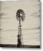 Iowa Windmill In A Corn Field Metal Print by Wilma  Birdwell