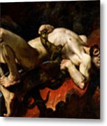 Ixion Thrown Into Hades Metal Print by Jules Elie Delaunay