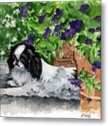 Japanese Chin Puppy And Petunias Metal Print by Kathleen Sepulveda