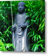 Japanese House Monk Statue Metal Print by Bill Cannon