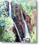 Jeeping At Bridal Falls  Metal Print by Linda Shackelford