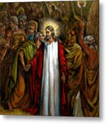 Jesus Betrayed Metal Print by John Lautermilch