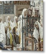 Jesus Unrolls The Book In The Synagogue Metal Print by Tissot