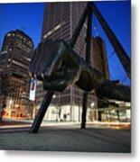 Joe Louis Fist Statue Jefferson And Woodward Ave. Detroit Michigan Metal Print by Gordon Dean II