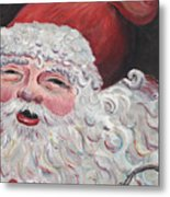 Jolly Santa Metal Print by Nadine Rippelmeyer